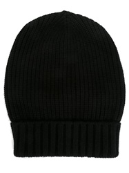 Dolce And Gabbana Ribbed Beanie Black