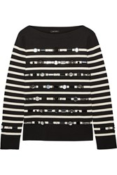Marc Jacobs Embellished Striped Cotton And Cashmere Blend Sweater