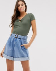 Hollister Crop Top With Ring Detail Green