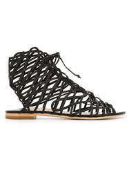 Sophia Webster Strappy Flat Sandals Black