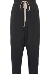 Rick Owens Cropped Wool And Silk Blend Track Pants Black