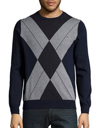 Lacoste Argyle Cotton Crewneck Sweater Blue