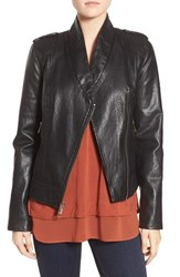Guess Petite Women's Faux Leather Moto Jacket Black