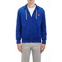 Comme Des Garcons Play Men's Heart Patch Zip Front Hoodie Blue