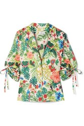 Miguelina Kelly Printed Cotton Voile Shirt Light Green