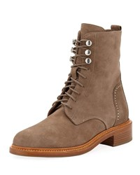 Aquatalia By Marvin K Ali Suede Lace Up Combat Boots Taupe