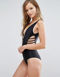 Rare Plunge Side Cut Out Swimsuit Black