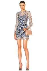 Self Portrait Patchwork Mini Dress In Gray Floral Gray Floral