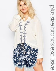 Alice And You Embroidered Peasant Blouse Cream