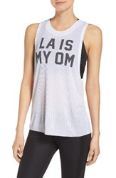 Alo Yoga Women's Heat Wave Tank White La Om Black