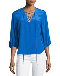 Amanda Uprichard Nora 3 4 Sleeve Lace Up Blouse Cobalt