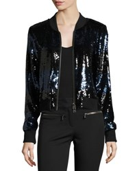 Veronica Beard Lexington Sequin Bomber Jacket Black Blue Black Blue