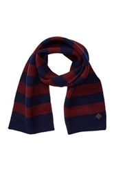Cole Haan Striped Wool Scarf Blue
