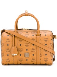 Mcm Signature Boston Tote Leather Yellow Orange