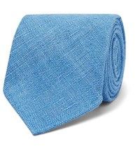 Drakes 8Cm Slub Silk Tie Light Blue