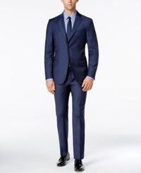 Dkny Men's Slim Fit Blue Flannel Suit