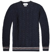 Thom Browne Donegal Tricolour Trim Cable Crew Knit Navy