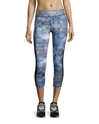 Neiman Marcus Tie Dye Mesh Panel Capri Leggings Blue Gray