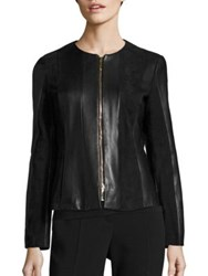Boss Sapato Nappa And Suede Leather Jacket Black