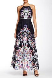 Phoebe Couture Floral Print Halter Gown Multi