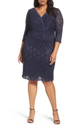 Alex Evenings Plus Size Women's Surplice Sequin Lace Sheath Dress Midnight