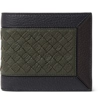 Bottega Veneta Intrecciato Trimmed Full Grain Leather Billfold Wallet Dark Green