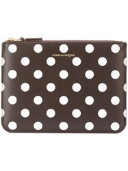 Comme Des Garcons Polka Dot Print Pouch Wallet Unisex Calf Leather One Size Brown
