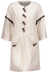 Derek Lam 10 Crosby By Frayed Cotton Blend Jacket Off White