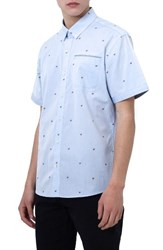 7 Diamonds Men's Cool It Down Embroidered Woven Shirt Light Blue