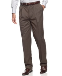 Louis Raphael Dress Pants Classic Fit Striated Pin Dot Chocolate
