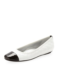 Neiman Marcus Saucy Quilted Leather Ballerina Flat White
