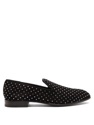Balmain Crystal Embellished Suede Loafers Black