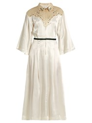 Toga Embellished Satin Dress Ivory