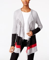 G.H. Bass And Co. Fringe Open Front Cardigan Grey Dusk Combo