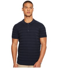 Ben Sherman Textured Stripe Knit Polo Navy Men's Short Sleeve Knit