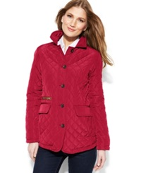 Jones New York Quilted Packable Jacket With Travel Bag Crimson