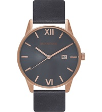 Unknown Un14da02 The Dandy Stainless Steel And Leather Watch Blue