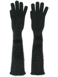 Cruciani Long Knitted Gloves Black