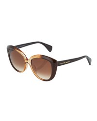 Alexander Mcqueen Modified Cat Eye Acetate Sunglasses Brown Honey