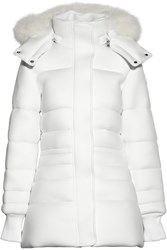 Pyrenex Morphing Fox Trimmed Hooded Neoprene Down Coat White