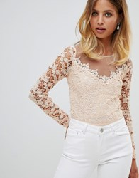 Girl In Mind Long Sleeve Lace Body Light Pink