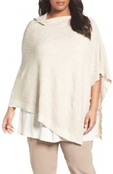 Eileen Fisher Plus Size Women's Organic Linen And Cotton Poncho Undyed Natural