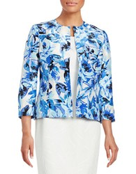 Nipon Boutique Floral Print Shantung Jacket Cabana Blue