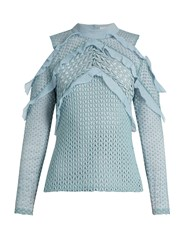 Self Portrait Purl Knit Lace Cut Out Shoulder Top Light Blue