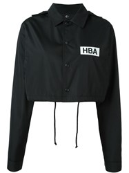 Hood By Air Logo Print Cropped Jacket Black
