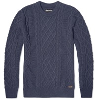 Barbour Kirktown Cable Crew Neck Indigo Blue