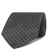 Tom Ford 8Cm Houndstooth Woven Silk Blend Tie Black