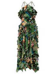 Gucci Floral Check Print Ruffled Silk Crepe Gown Green Multi