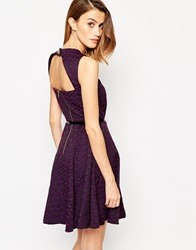 Closet Belted Skater Dress With Cut Out Back Purple