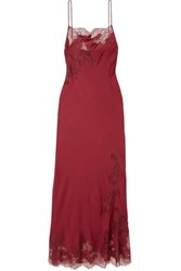 Carine Gilson Chantilly Lace Trimmed Silk Satin Nightdress Burgundy